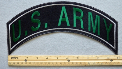 365 L - US ARMY TOP ROCKER - EMBROIDERY PATCH - WHITE AND GREEN - FREE SHIPPING!