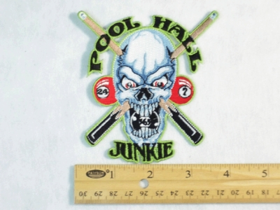 205 N - POOL HALL JUNKIE - EMBROIDERY PATCH - SMALL