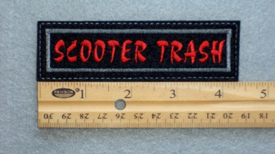 39 L - SCOOTER TRASH - EMBROIDERY PATCH - RED AND GRAY