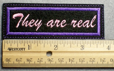 1115 L - They are real - Embroidery Patch - Purple Border Pink Letters