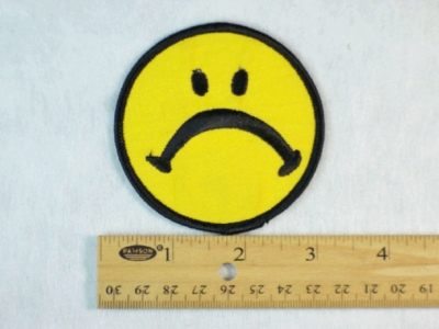 212 N - FROWN FACE - EMBROIDERY PATCH