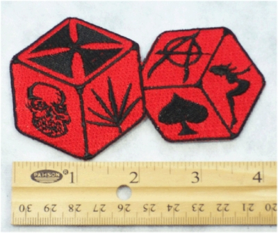 225 N - VICE DICE - EMBROIDERY PATCH - RED