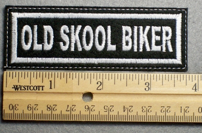 1101 L - OLD SKOOL BIKER - Embroidery Patch - White Border White Letters