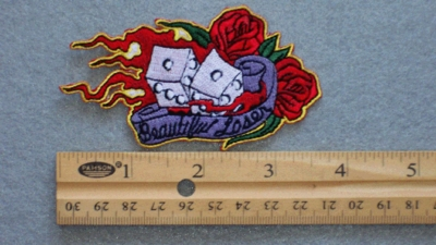 251 N - BEAUTIFUL LOSER DICE AND ROSES - EMBROIDERY PATCH