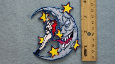 256 N - FETISH GIRL ON THE MOON - EMBROIDERY PATCH