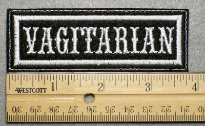 1029 L - VAGITARIAN - Embroidery Patch - White Border White Letters