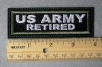 967 L - US Army Retired Embroidery Patch - Green Border White Letters