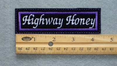 184 L - HIGHWAY HONEY - EMBROIDERY PATCH - PURPLE AND WHITE
