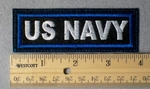 971 L - US Navy Embroidery Patch - Blue Border White Letters