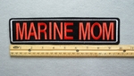 "435 L - MARINE MOM 11"" - EMBROIDERY PATCH - WHTE AND RED - FREE SHIPPING!"