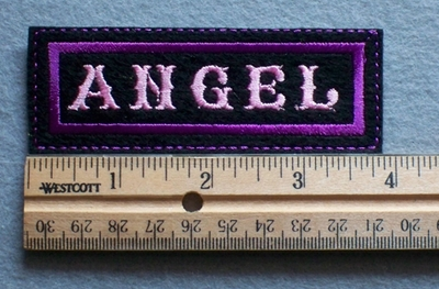 1086  L - Angel Embroidery Patch - Purple Border Pink Letters