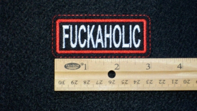 548 L - FUCKAHOLIC - EMBROIDERY PATCH - ORANGE AND WHITE