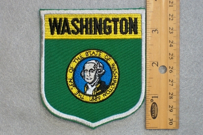 WASHINGTON STATE FLAG SHIELD - EMBROIDERY PATCH