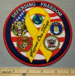 2072 W - Defending Freedom With Yellow Ribbon- 5 Inch Round - Embroidery Patch