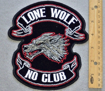 35 G - LONE WOLF NO CLUB - EMBROIDERY PATCH - MEDIUM SIZE