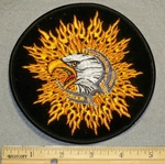 2117 R - Eagle Engulfed In Flames - Round - Embroidery Patch
