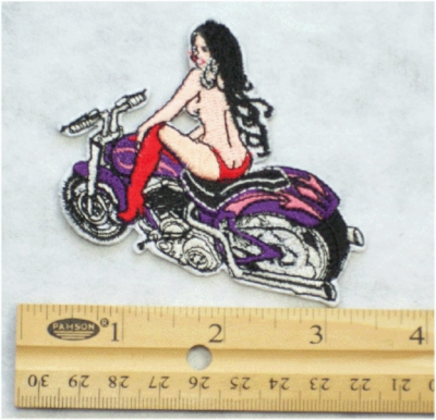 16 N - TOPLESS HOT GIRL ON PURPLE BIKE - EMBROIDERY PATCH
