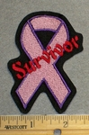 2109 L - Pink Breast Cancer Ribbon With Survivor - Embroidery Patch