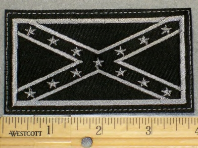 2108 G - Blacked Out Confederate Flag - Embroidery Patch