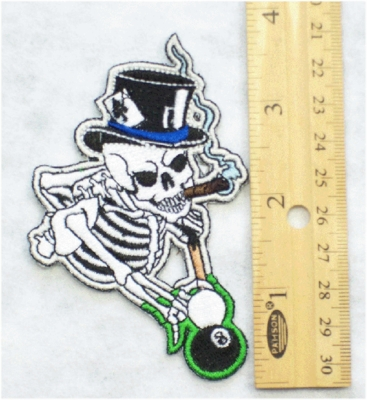 222 N - SKELETON PLAYING POOL - EMBROIDERY PATCH