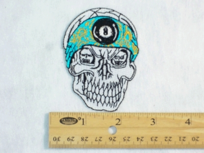 199 N - SKULL WITH 8 BALL BANDANA - EMBROIDERY PATCH