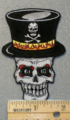 1533 N - Skullface With Top Hat - Embroidery Patch
