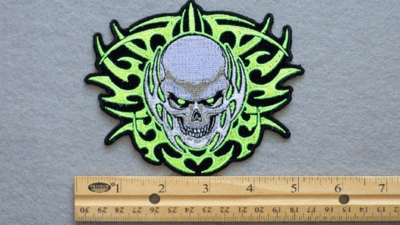 262 G - SKULL WITH NEON GREEN TRIBAL - EMBROIDERY PATCH - FREE SHIPPING!