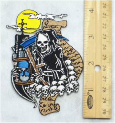 233 N - GRIM REAPER SCROLL OF DEATH - EMBROIDERY PATCH