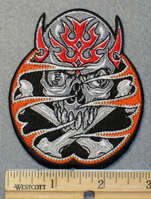 1537 N - Skull Face With Cross Bones Consumed in Flames - Embroidery Patch