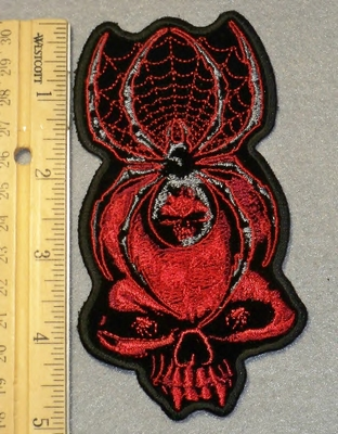 1877 G - Skull Face With Black Widow Spider - Embroidery Patch
