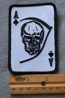 831 N - Ace of Spades with Skull Embroidered Patch