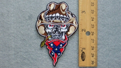 261 N -  Confederate Cowboy With Skull Cowboy Hat  - Embroidery patch