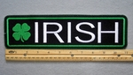 "418 L - IRISH 11"" - EMBROIDERY PATCH - GREEN AND WHITE - FREE SHIPPING!"