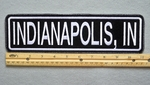 "457 L - INDIANAPOLIS, IN 11"" - EMBROIDERY PATCH - WHITE - FREE SHIPPING!"