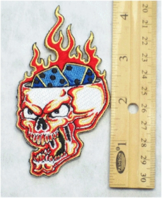 234 N - EVIL SKULL DICE ON THE BRAIN - EMBROIDERY PATCH
