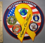 2078 W - Defending Freedom With Yellow Ribbon - Large Back Patch - Embroidery Patch