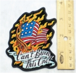575 G - Can't Burn This One - American Flag And Eagle - Embroidery Patch
