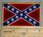 1501 R - Confederate Flag - Yellow Border - Embroidery Patch