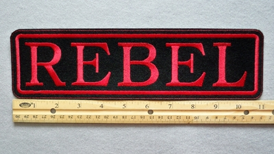 "423 L - REBEL 11"" - EMBROIDERY PATCH - RED - FREE SHIPPING!"