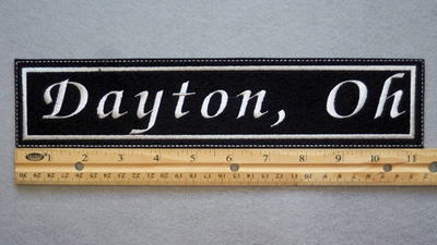 "425 L - DAYTON, OH 11"" - EMBROIDERY PATCH - WHITE - FREE SHIPPING!"