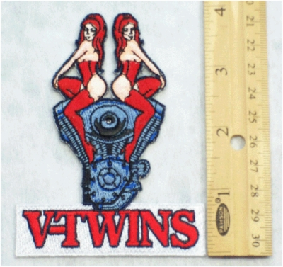 19 N - V TWINS REDHEAD ON BIKE ENGINE - EMBROIDERY PATCH