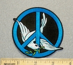 1237 N - Peace Sign With Dove - Embroidery Patch