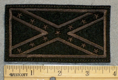 1225 G - Black and Brown Confederate Flag - Embroidery Patch