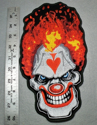 1742 N -Evil Clown Face With Upside Down Spade On Forehead - Large Patch - Embroidery Patch