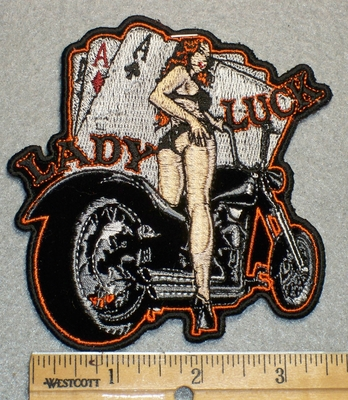 1705 N - Lady Luck - 3 Aces -Lady With Bike - Embroidery Patch