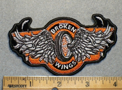 1710 G - Broken Wings On Tire - Embroidery Patch
