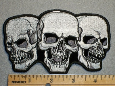 1715 G - Three Skullface - Embroidery Patch
