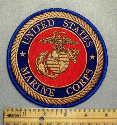 1683 R - W - discontinued  United States Marine Corp Round Patch - Embroidery Patch
