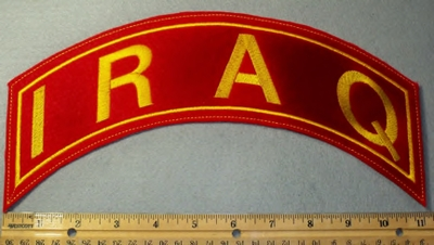 1886 L - Iraq - Red Background - Top Rocker - Embroidery Patch