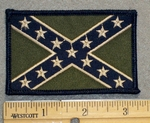 1226 G - Blue and Green Confederate Flag - Embroidery Patch